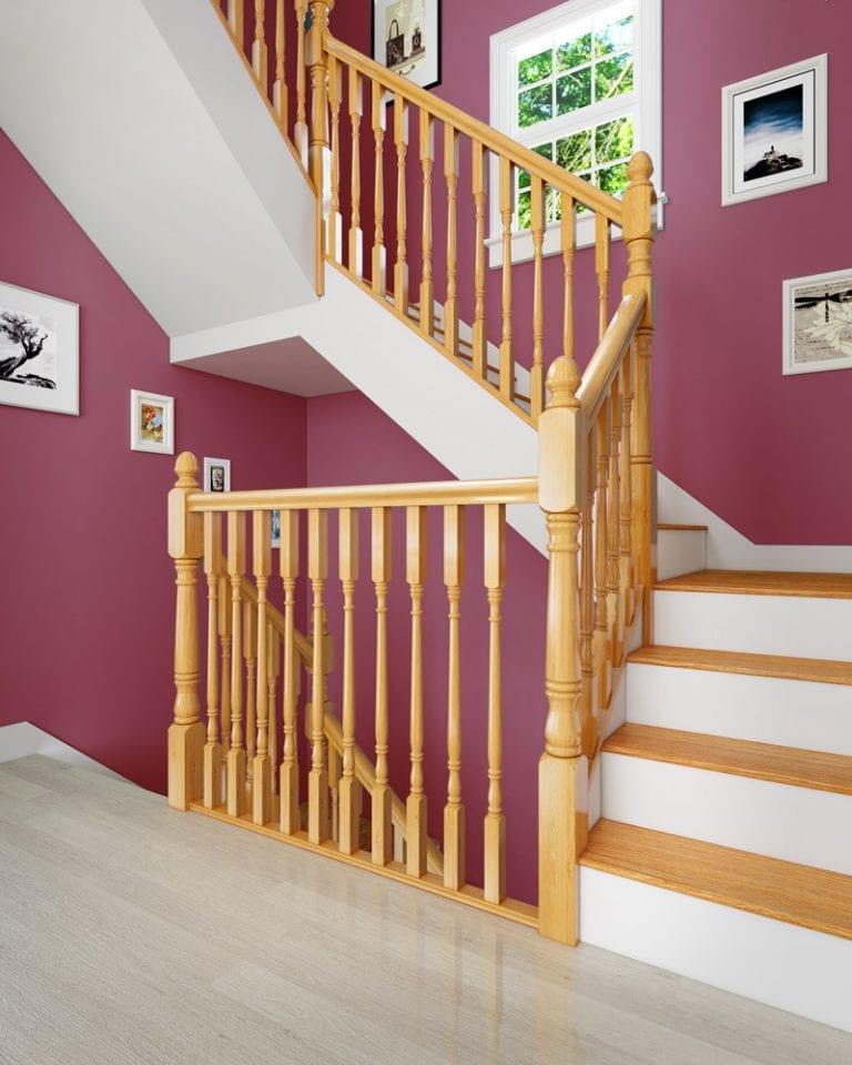 Stairs Closeup with Acorn Newel Cap - George Quinn Stair Parts Plus