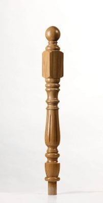 Image of Corby Short Square Fluted Newel Post | George Quinn Stair Parts Plus