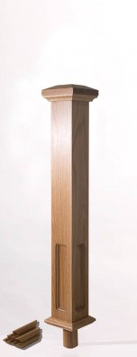 Image of Double Square Box Newel Top with dowel | George Quinn Stair Parts Plus