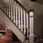 Stop chamfered staircase design with box newel post, Boyne staircase collection | GQ Stair Parts Plus