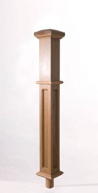 Image of Long Square Box Newel Top with dowel | George Quinn Stair Parts Plus