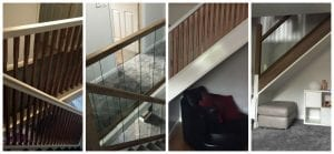 Urbana Glass Range Components with Walnut Handrail Base rail and Square Newel Posts