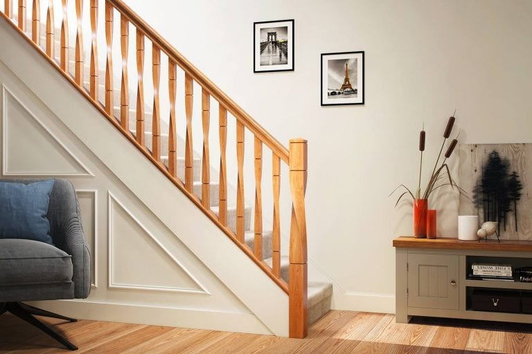 White Oak Milano Twist Staircase   George Quinn Stair Parts Plus