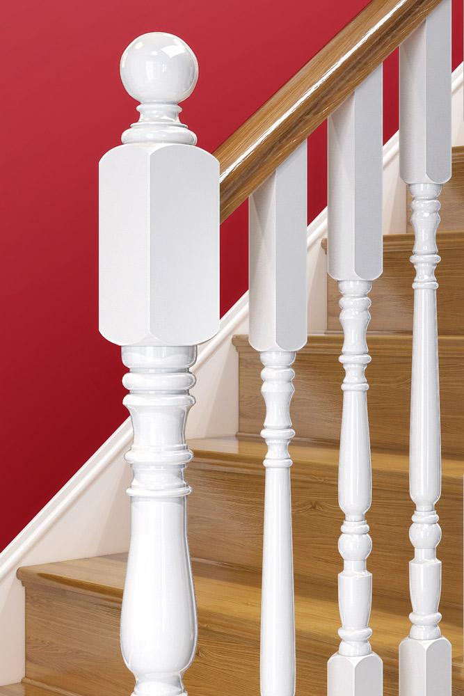 Newel Post Cap - Painted Closeup -George Quinn Stair Parts Plus