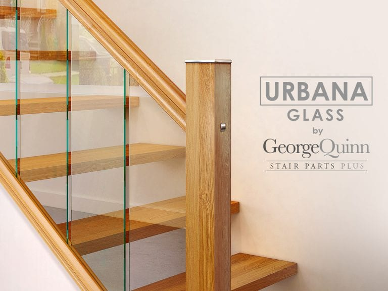 Glass Stairs Closeup of Glass Panels, Newel and Metal Cap - George Quinn - Urbana