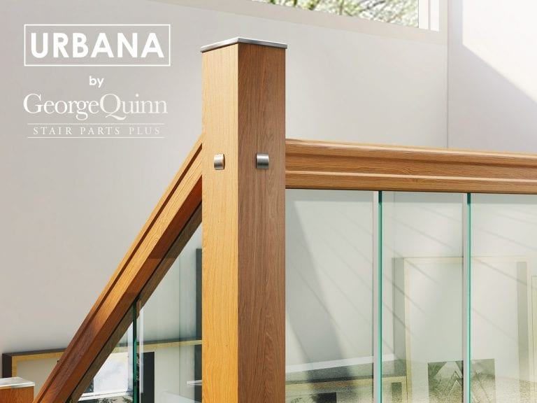 Glass Stairs Modern Landing Closeup with Metal Newel Cap and Oak Handrails - George Quinn Stair Parts - Urbana