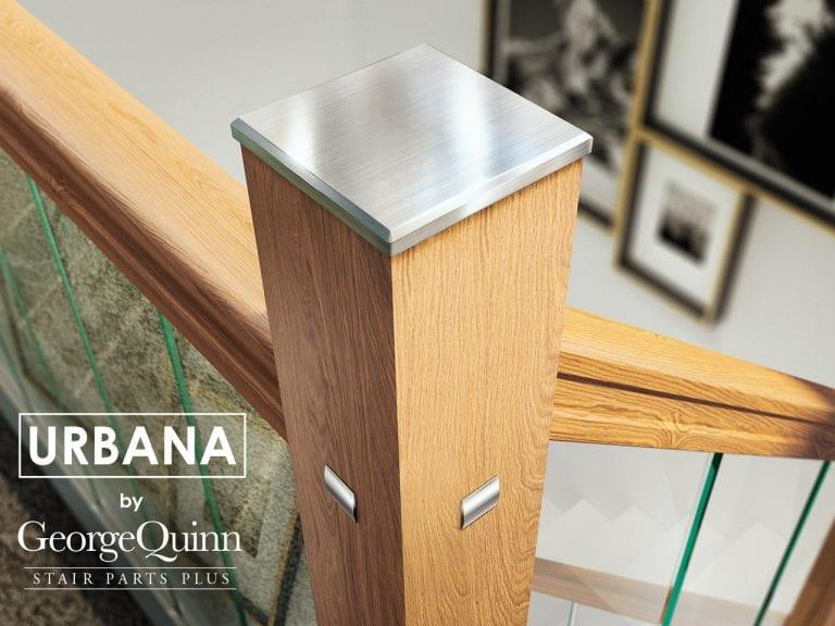 Glass Stairs Metal Newel Cap Closeup with Oak handrail and newel - George Quinn Stair Parts - Urbana