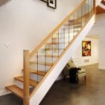 Glass Floating Stairs with Oak Handrail and Metal Stair Parts in modern home - George Quinn Stair Parts - Urbana