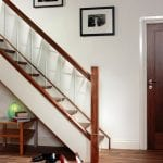 Glass Stairs with Walnut Handrail, Newel and metal stair parts - George Quinn Stair Parts - Urbana