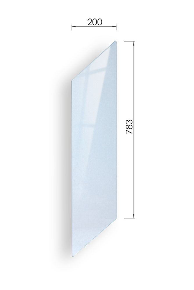Glass Stairs Rake Panel with dimensions 783mm x 200mm- George Quinn Stair Parts - Urbana