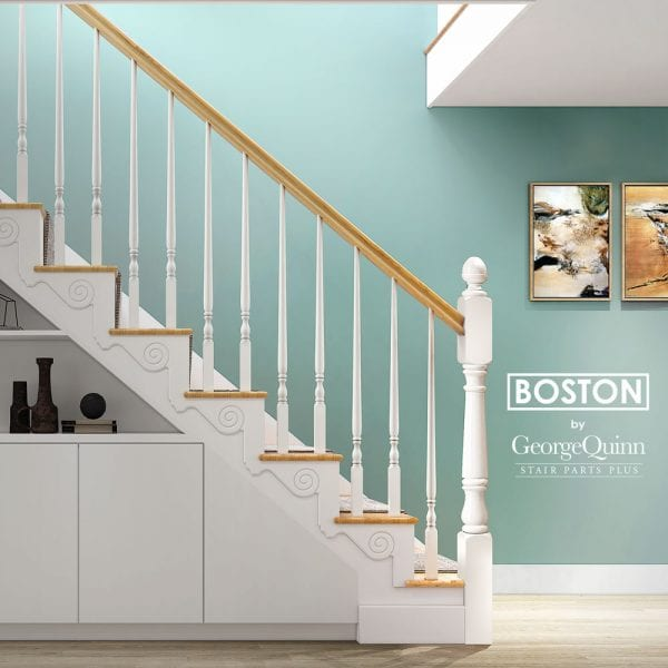 Pin Top Spindles Staircase - Green Wall - Painted Boston - George Quinn Stair Parts