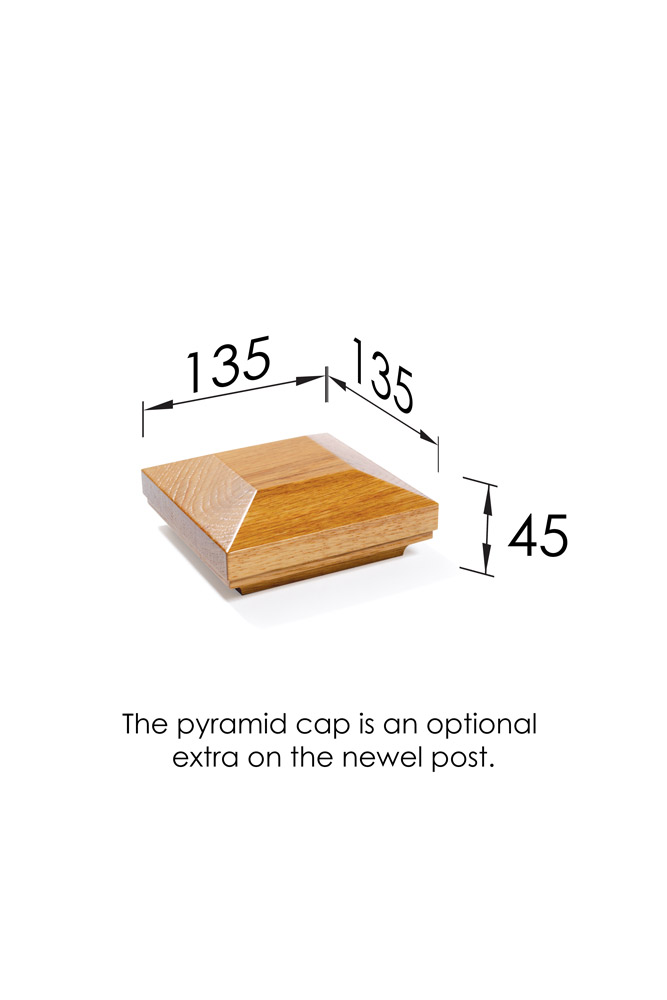 Pyramid Newel Cap Large Dimensions- George Quinn Stair Parts