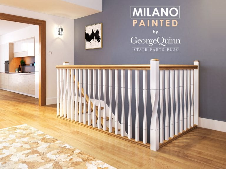 Painted Spindles and Newels for Stairs - Milano Twist - George Quinn Stair Parts Plus