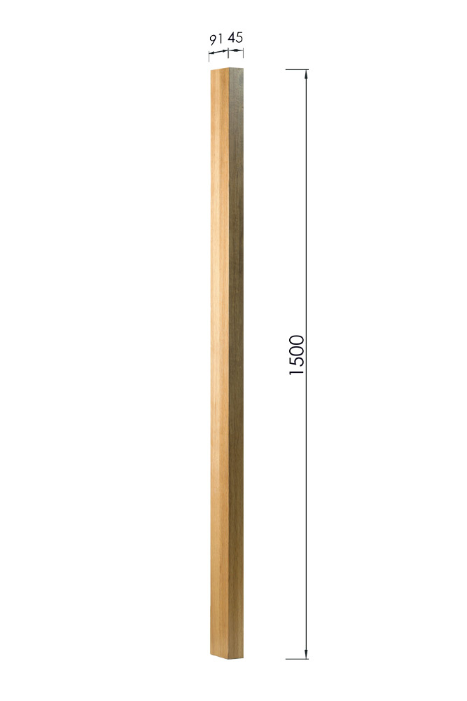 Half Square Newel post with Dimensions 1500mm x 91mm x 45mm