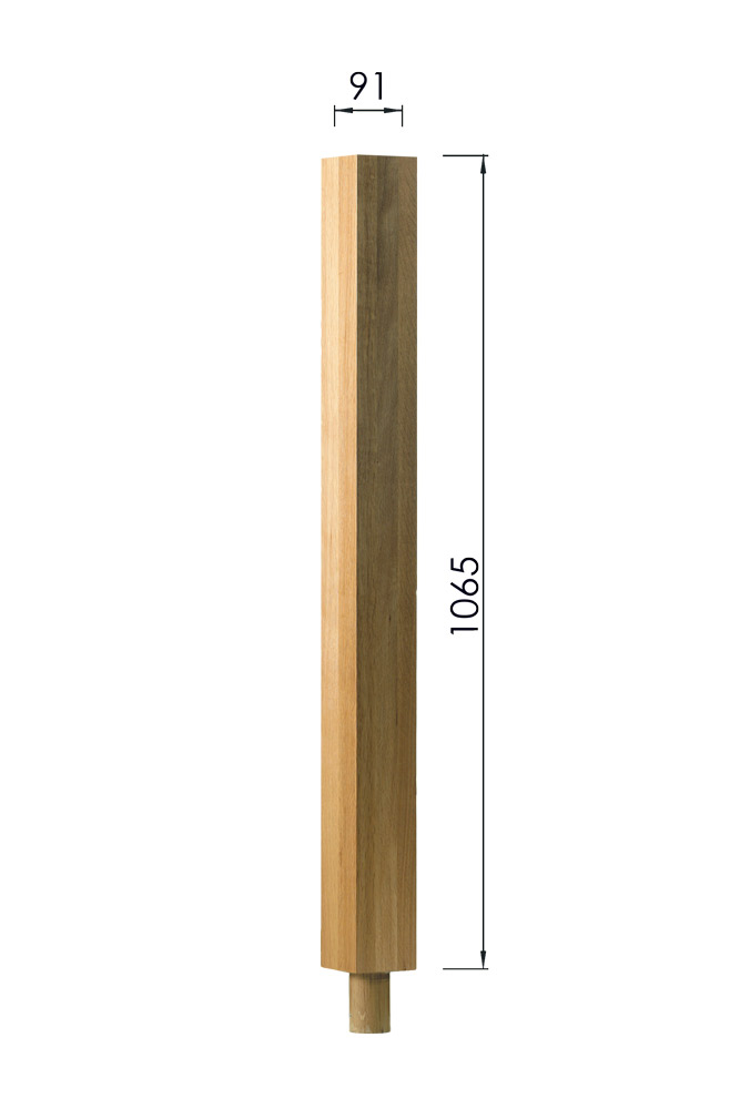 Square Plain Newel Post with a Dowel with Dimensions- 1065 x 91 x 91mm -George-Quinn-Stair-Parts