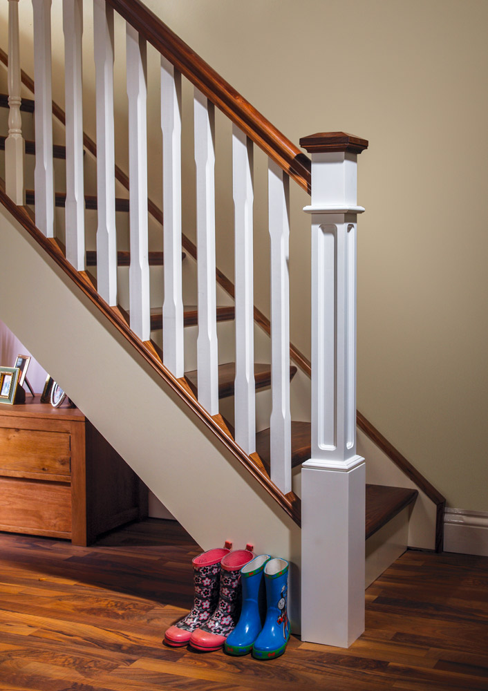 Stop Chamfered Stair Parts - Boyne - Box Newel Painted with Walnut - George Quinn Stair Parts Plus
