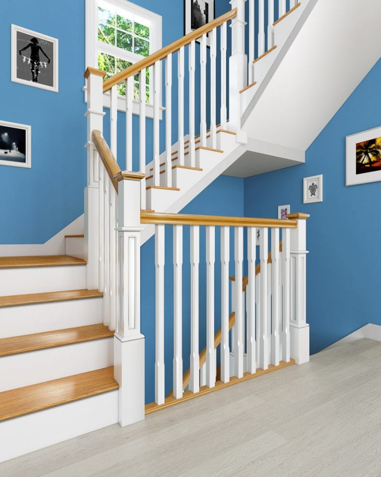 Stop Chamfered Stair Parts - Boyne - Box Newel painted with Oak - George Quinn Stair Parts Plus