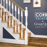 Staircase Newel Post Painted -Blue Wall - Exclusive Corby - George Quinn Stair Parts