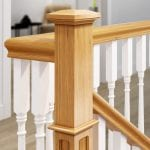 Oak Pyramid Cap - Closeup in Staircase - George Quinn Stair Parts