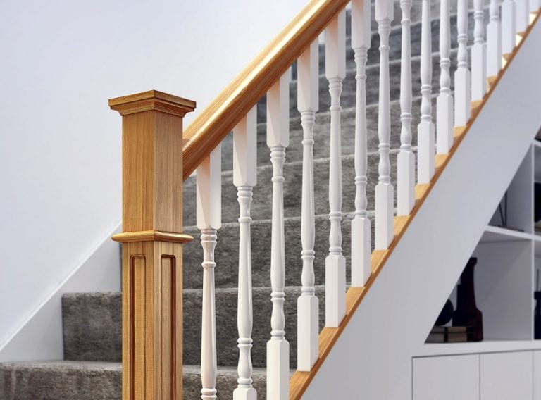 Modern Staircase Parts - Achill and Box Newel Closeup- George Quinn Stair Parts Plus
