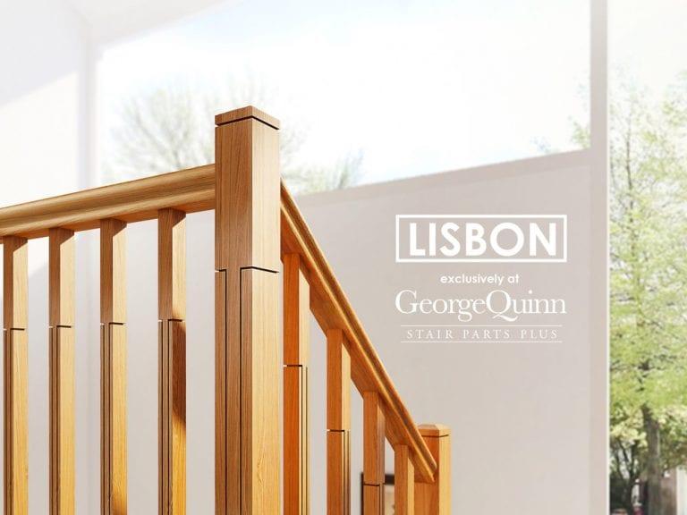 Modern Stair Parts - Landing Closeup Lisbon Sawcuts - George Quinn Stair Parts Plus