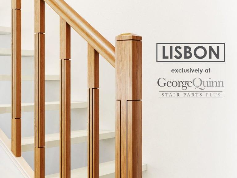 Modern Stair Parts - Closeup Newel Post Lisbon Sawcuts - George Quinn Stair Parts Plus