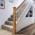 Staircase - Oak Box Newel and Painted Achill Spindles - George Quinn Stair Parts Plus
