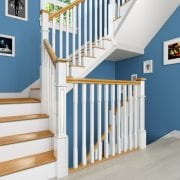 Staircase-Painted-Box-Newel-Post-Primed-Spindles-Landing-George-Quinn-Stair-Parts-Plus