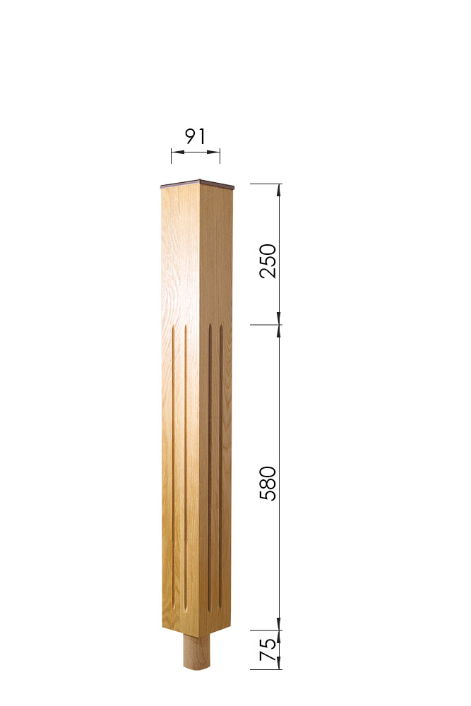 Modern Newel Post - Tuscan Long Square Newel Dimensions - George Quinn Stair Parts Plus
