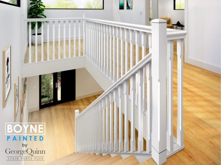 Chamfered Painted Spindles and Newels - Boyne - Modern Stair Parts -George Quinn Stair Parts Plus