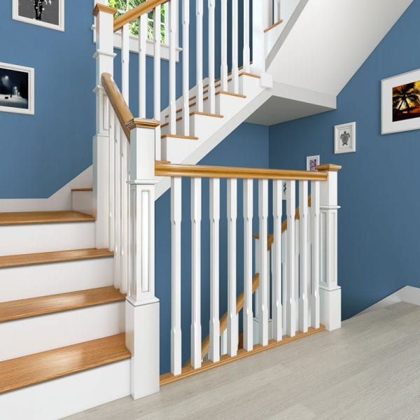Painted Box Newel Stairs Primed Boyne Chamfered Spindles - George Quinn Stair Parts Plus