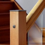Glass-Stairs-Metal-Newel-Cap-gun-Metal-OAK-George-Quinn-Stair-Parts-Urbana-2